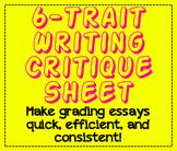 6-Trait Writing Critique Sheet-Essay Grading Made Easy