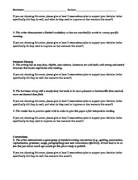 6 Traits 5 Points Model Peer Review Editing Checklist