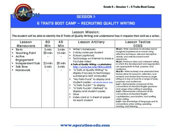 6 Traits Boot Camp - Grade 6