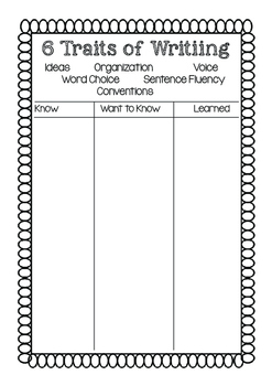 6 Traits KWL Chart-Interactive Notebooks