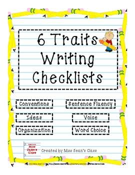 6 Traits Writing Student Checklists