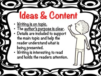 6 Traits Writing Poster Black White  (Silly Circle Collection) Six Traits