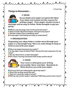 6 Traits Writing Tips Handout