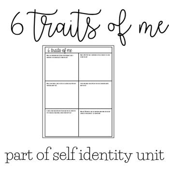 6 Traits of Me | Identity Unit | Social Skills