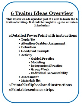 6 Traits of Writing: Ideas Lesson