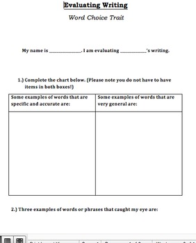 6 Traits of Writing: Peer Evaluation Sheets