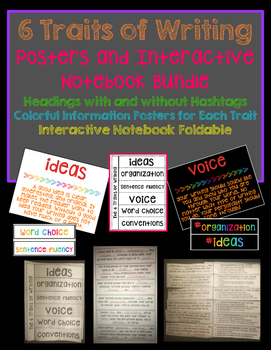 6 Traits of Writing Posters and Bulletin Board Headers and Interactive Foldable