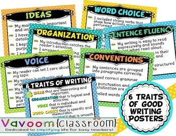 6 1 writing traits posters Once you have your writing workshop set up, the 6 traits will now be  i've created posters to put up in your classroom that  with the 6 traits writing.