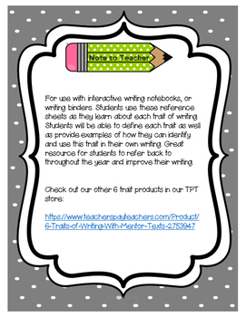 6 Traits of Writing Reference Sheet