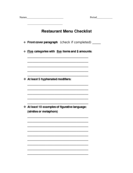 6 Traits of Writing Restaurant Menu Project