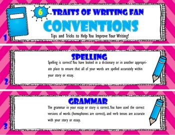 [Conventions] 6 Traits of Writing Rubric Fan- Reference Tool for Full Year Use