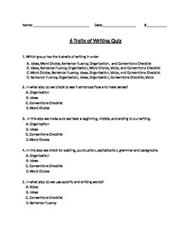 6 Traits of Writing Test