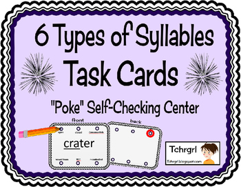 """6 Types of Syllables """"Poke"""" Self-Checking Task Cards for A"""
