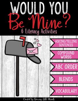 6 Valentines Literacy Centers