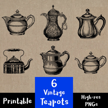 6 Vintage Teapots | Antique Tea Kettles | Teaware | Kitchen | PNG, AI, EPS