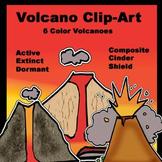 6 Volcanoes Color Clip-Art