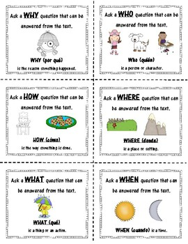 6 W Question Cards (with Spanish W word translation for language learners)