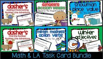 SCOOT 6 WINTER Math & LA Task Cards BUNDLE Game CC, centers