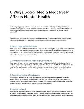 6 Ways Social Media Negatively Affects Mental Health