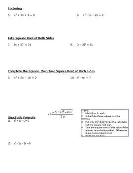 6 Ways to Solve Quadratic Equations