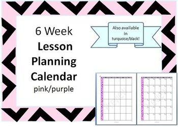 6 Week Blank Lesson Plan Calendar - pink/purple