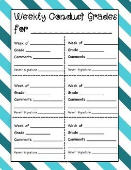 6 Week or 9 Week Conduct Grade Sheets
