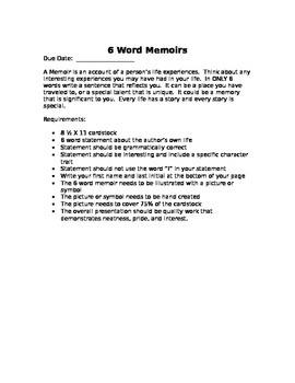 6 Word Memoir Activity