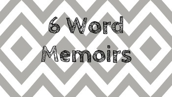 6 Word Memoir Back to School Activity