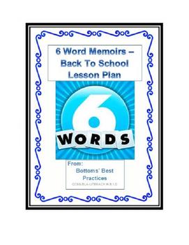 6 Word Memoir - Back to School Lesson for Junior High