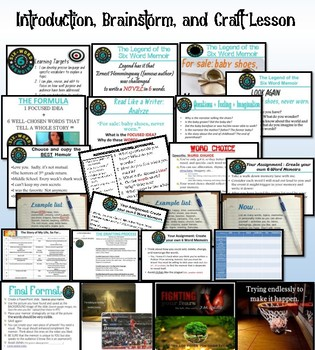 6 Word Memoir Lesson and Assessment