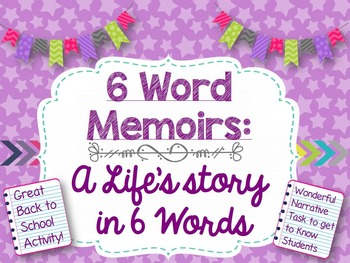 6 Word Memoirs-Back to School Get to Know You Activity