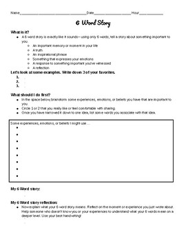 6 Word Story Creative Writing Activity and Rubric