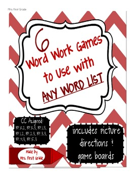 6 Word Work Games to go with ANY WORD LIST