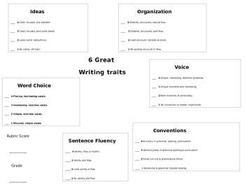 6 Writing Traits Writing Rubric