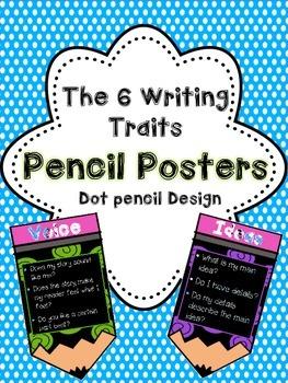 6 Writing Traits on Pencils! (Polka Dot Edition!)