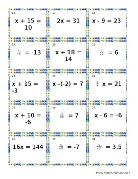 6 by 6 Bingo: One-Step Equations