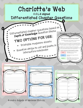Charlotte's Web NO PREP 6 chapter planning grid and extras