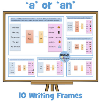 6 colourful high frequency word writing frames
