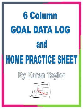 IEP Tracking SLP, 6 goal data log, progress, home practice, homework, Excel