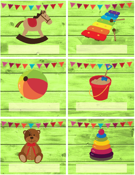 LABELS, TOY themed - editable - 4 pgs 4 different styles, colorful organization