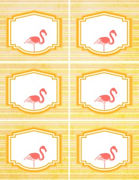 6 cute flamingo LABELS - editable in word - pink orange - organize classroom