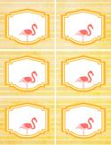 6 cute flamingo LABELS - editable in word - pink orange -