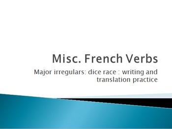6 irregular verbs : Dice Race : Writing & Translation Activity