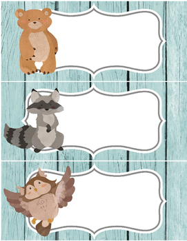 6 large labels, 2pgs in word - woodland animals - bear, owl etc - organization