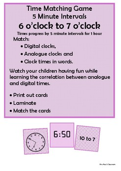 Time - 6 o'clock to 7 o'clock by 5 minute intervals