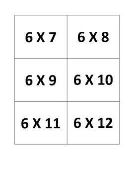 6's Multiplication Flashcards