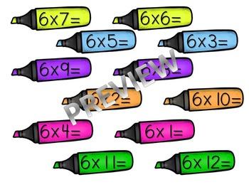 6's Multiplication- Marker File Folder Game