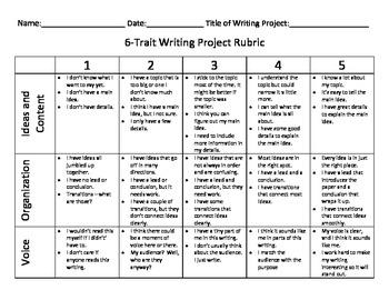6 trait writing student checklists and rubrics