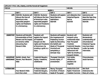 6 week Social Studies Unit Map - 3rd Grade