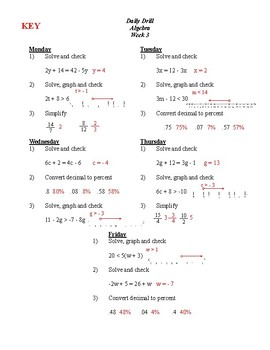 6 weeks of ALGEBRA Daily Drills / Bell Ringers, 90 problems! with Answers
